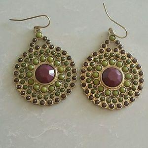 Jewelry - Purple and green bead earrings